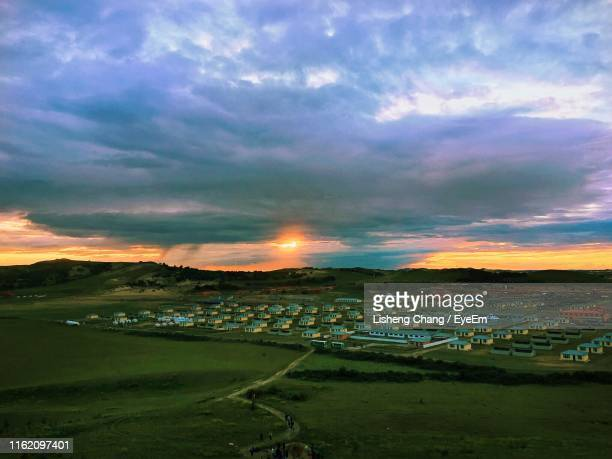 scenic view of field against sky during sunset - muş city turkey stock pictures, royalty-free photos & images