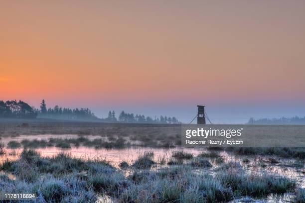 scenic view of field against sky during sunset - czech hunters stock pictures, royalty-free photos & images