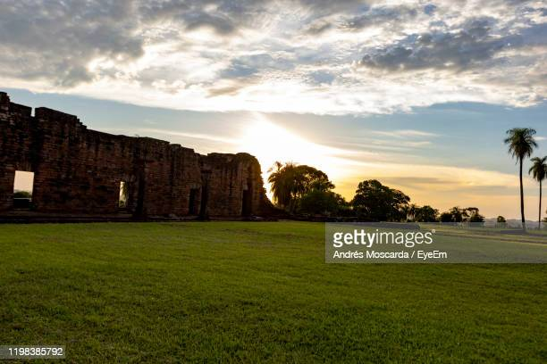 scenic view of field against sky during sunset - paraguay stock pictures, royalty-free photos & images