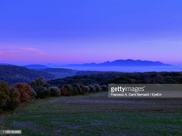 scenic view of field against sky during sunset - レリダ県 ストックフォトと画像