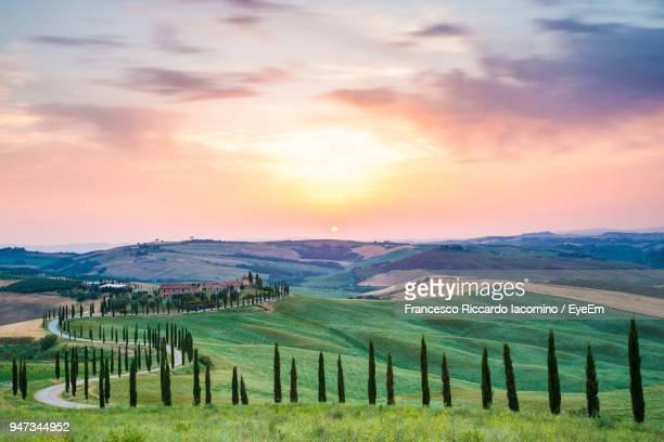 scenic view of field against sky during sunset - iacomino italy foto e immagini stock
