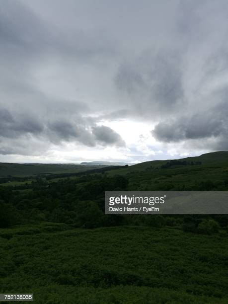 scenic view of field against sky - moody sky stock pictures, royalty-free photos & images