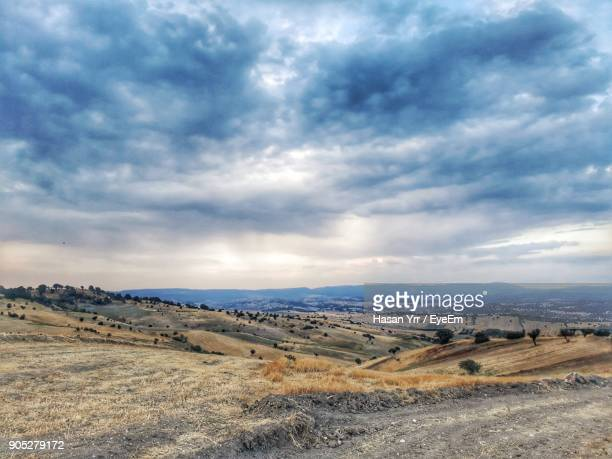 scenic view of field against sky - gediz stock pictures, royalty-free photos & images