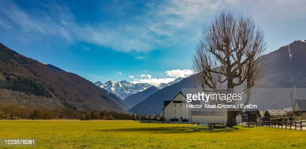 scenic view of field and houses against sky - バニエールドルション ストックフォトと画像