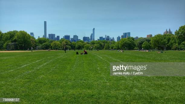 Scenic View Of Field And Trees In Park Against Sky