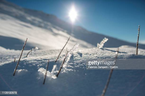 scenic view of frozen lake against sky during sunny day - fabrizio zampetti foto e immagini stock