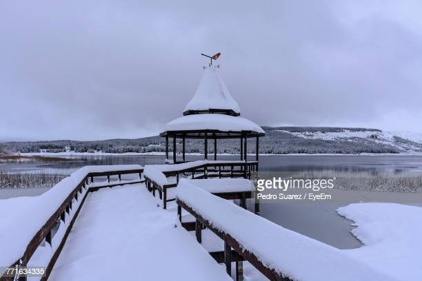 scenic view of frozen lake against sky - suarez stock pictures, royalty-free photos & images