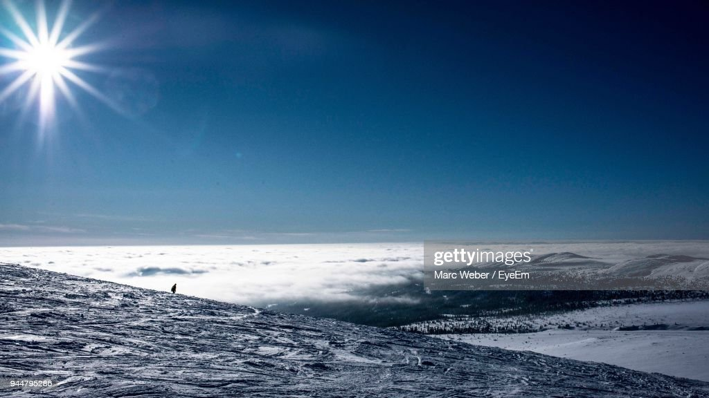 Scenic View Of Frozen Landscape Against Clear Blue Sky : Stock Photo