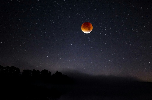 Scenic View Of Full Moon Against Star Field - gettyimageskorea