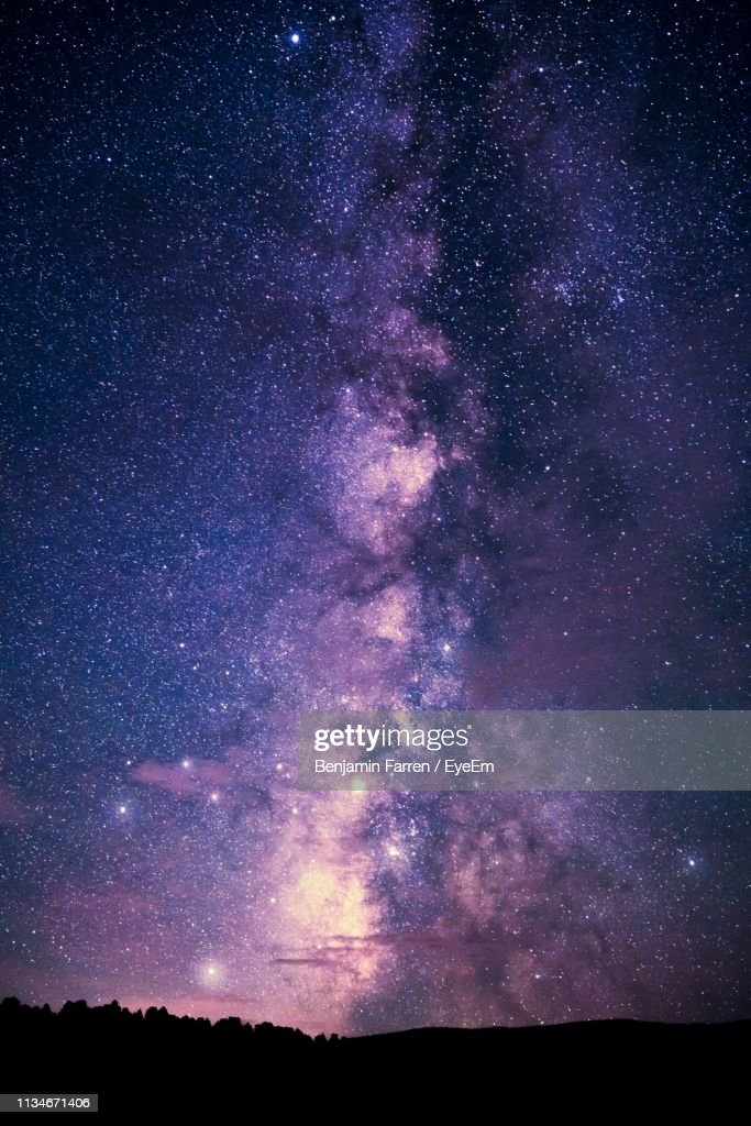 Scenic View Of Galaxy In Sky At Night : Stock Photo