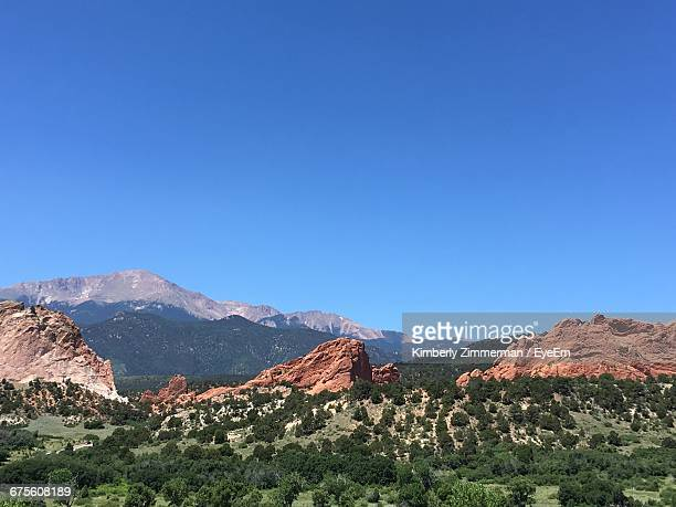 Scenic View Of Garden Of The Gods Against Clear Sky