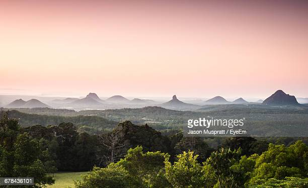 Scenic View Of Glass House Mountains Against Clear Sky