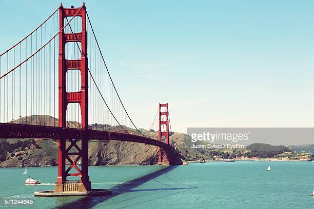 scenic view of golden gate bridge against sky - golden gate bridge stock pictures, royalty-free photos & images