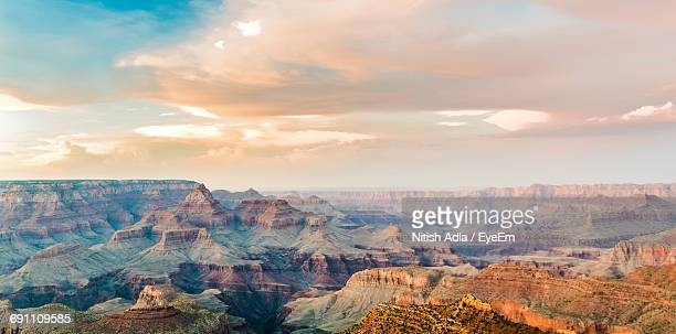 scenic view of grand canyon national park against cloudy sky - grand canyon national park stock photos and pictures