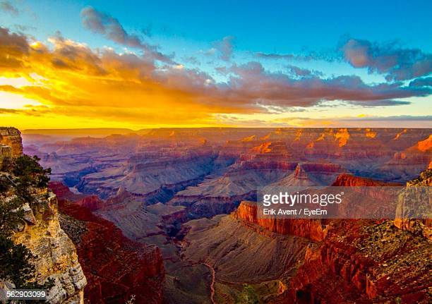 scenic view of grand canyon national park against sky during sunset - phoenix arizona stock photos and pictures