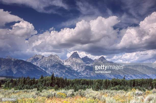 Scenic View of Grand Tetons with Clouds