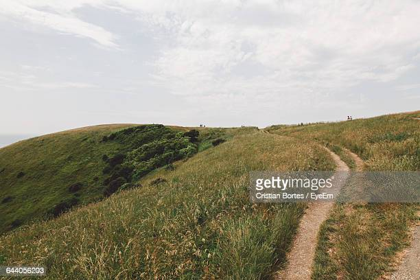 scenic view of grassy field against sky - grass area stock pictures, royalty-free photos & images