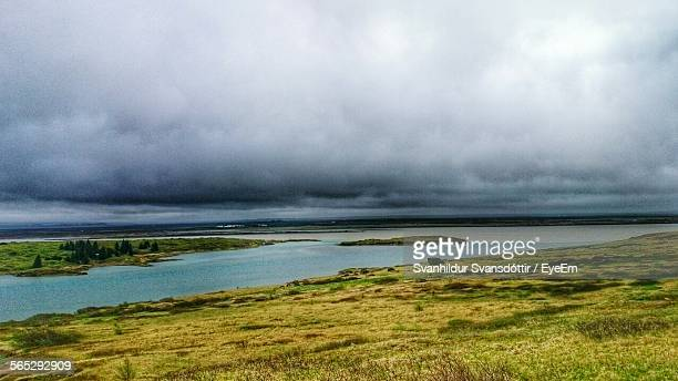 scenic view of grassy field and river against cloudy sky - selfoss stock photos and pictures