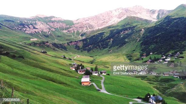 scenic view of grassy field - liechtenstein stock pictures, royalty-free photos & images