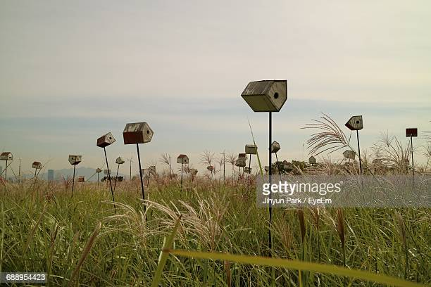 Scenic View Of Grassy Field With Birdhouses Against Sky