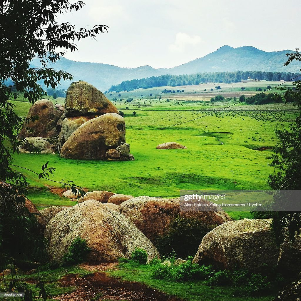 Scenic View Of Grassy Landscape At Tapalpa : Stock Photo