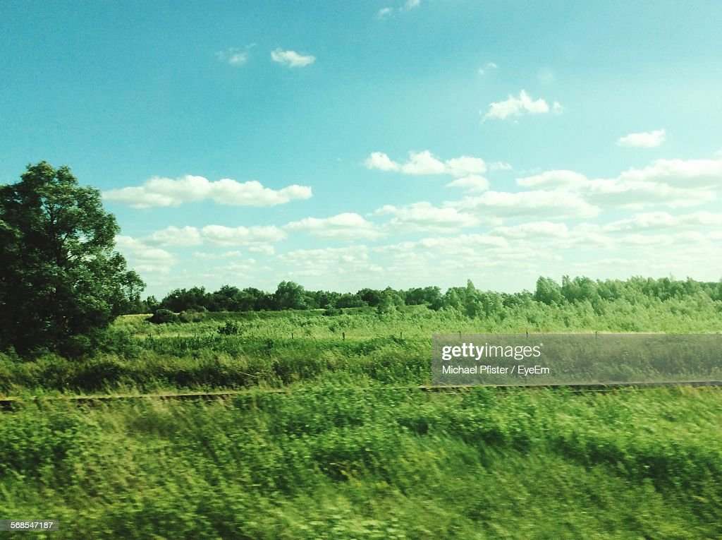 Scenic View Of Green Landscape Against Blue Sky : Stock Photo