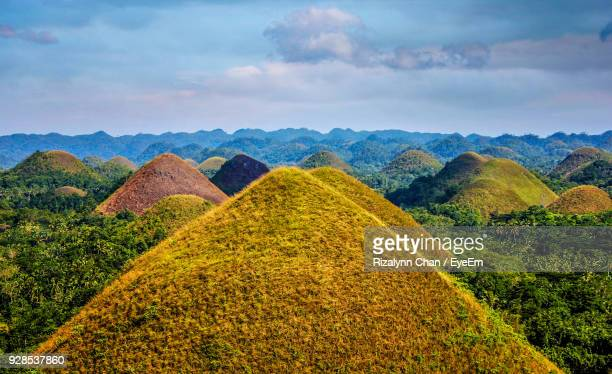 scenic view of green landscape against sky - cebu stock photos and pictures