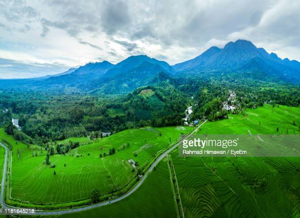 scenic view of green landscape and mountains against sky - rahmad himawan stock photos and pictures