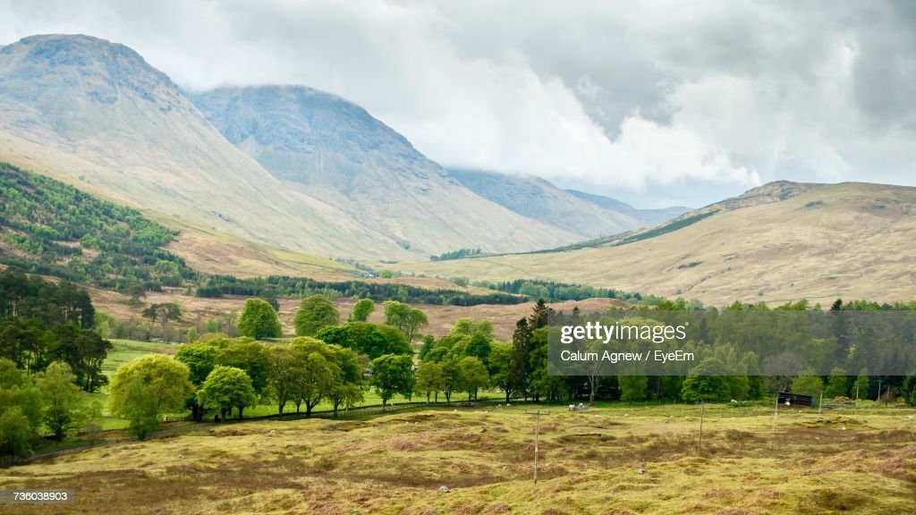 Scenic View Of Green Landscape And Mountains Against Sky : Stock-Foto