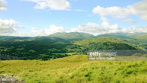Scenic View Of Green Mountains Against Sky At English Lake District