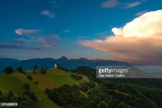 scenic view of green mountains against sky - kranj stock pictures, royalty-free photos & images