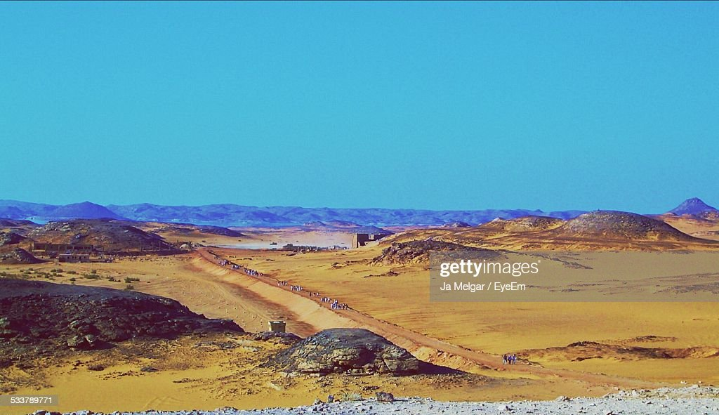Scenic View Of Hills Against Clear Blue Sky : Foto stock