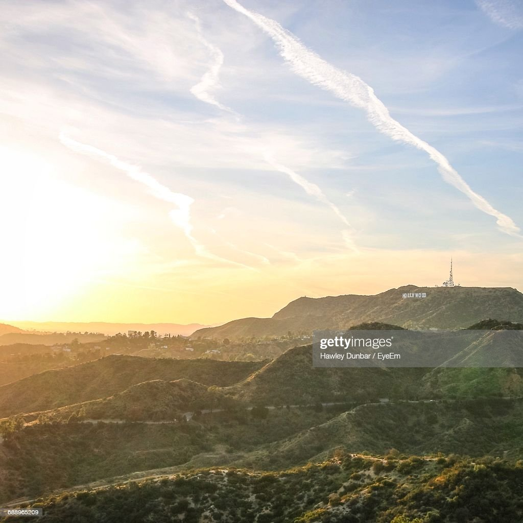 Scenic View Of Hollywood Sign On Mount Lee Against Sky During Sunset : Stock Photo