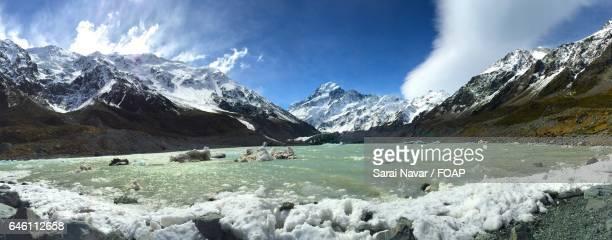 Scenic view of hooker glacier trail