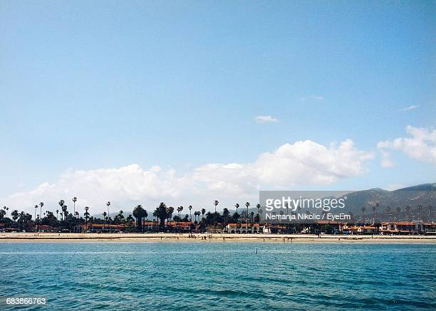 scenic view of houses along coastline - santa barbara stock photos and pictures