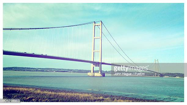 Scenic View Of Humber Bridge Over River Against Sky