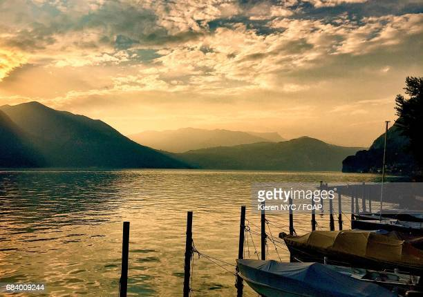 Scenic view of idyllic lake during sunset