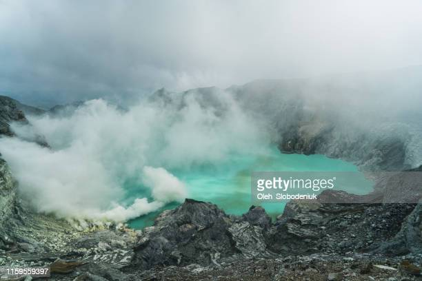 scenic view of ijen volcano and sulphur minings - mt bromo stock pictures, royalty-free photos & images