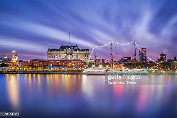 scenic view of illuminated city at night - buenos aires stock pictures, royalty-free photos & images