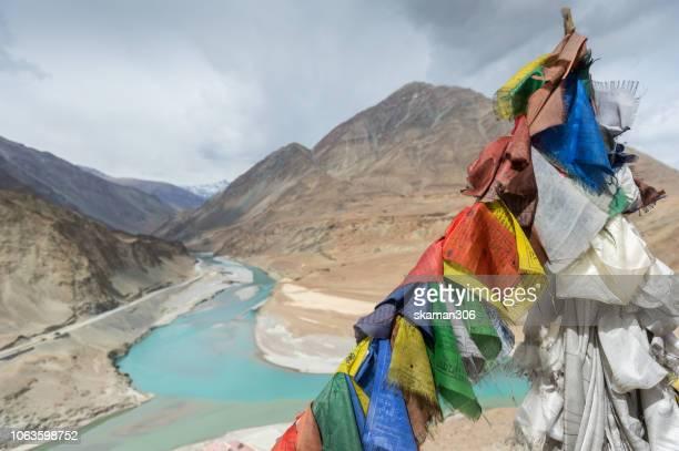 Scenic view of indus and Zanskar river meeting at  leh ladakh  india