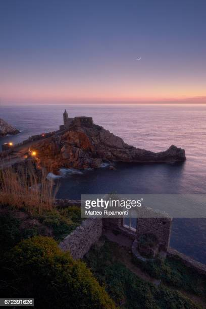 Scenic View Of Italian Sea Against Sky and moonrise