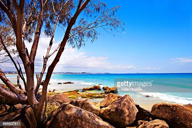 scenic view of kirra beach against blue sky - gold coast queensland stock pictures, royalty-free photos & images