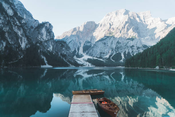 scenic view of lago di braies  in dolomites - horizontal stock pictures, royalty-free photos & images