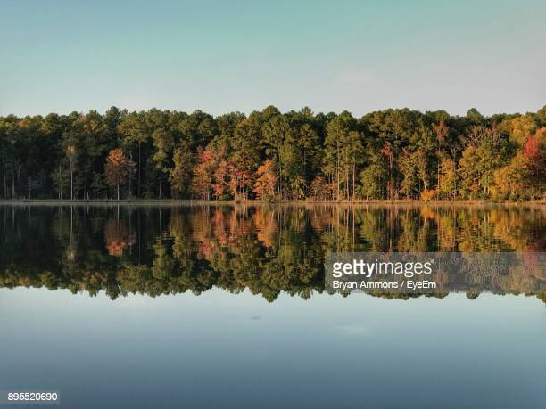 scenic view of lake against clear sky - westchester county stock photos and pictures