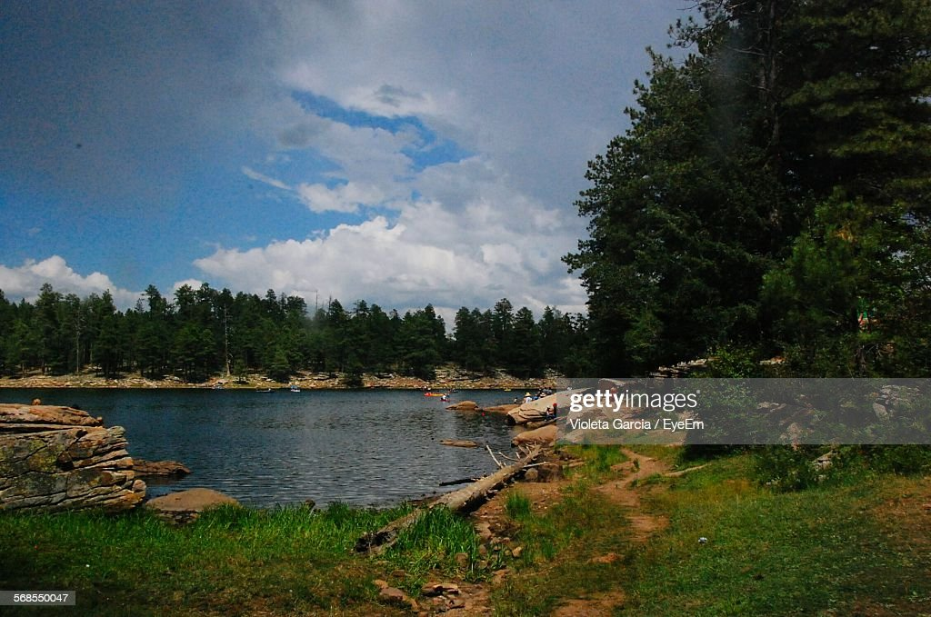 Scenic View Of Lake Against Cloudy Sky By Trees : Stock Photo