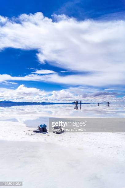 scenic view of lake against cloudy sky during winter - ウユニ ストックフォトと画像