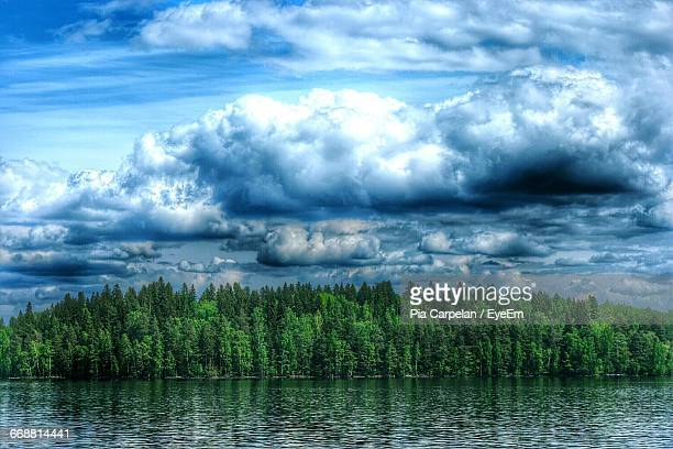 scenic view of lake against cloudy sky - tampere finland stock pictures, royalty-free photos & images