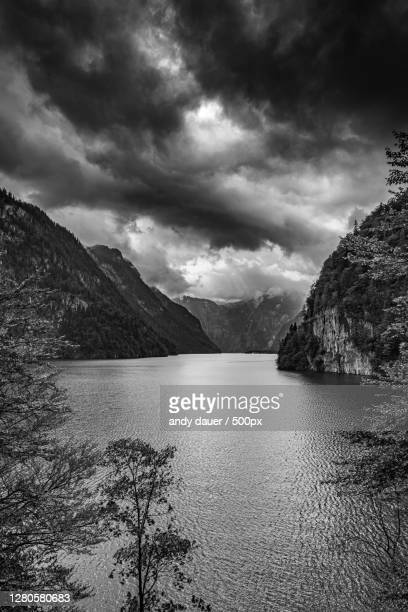 scenic view of lake against cloudy sky,germany - andy dauer stock pictures, royalty-free photos & images
