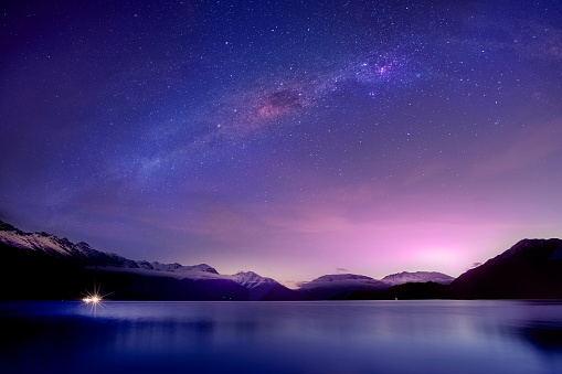 Scenic View Of Lake Against Mountain At Night - gettyimageskorea