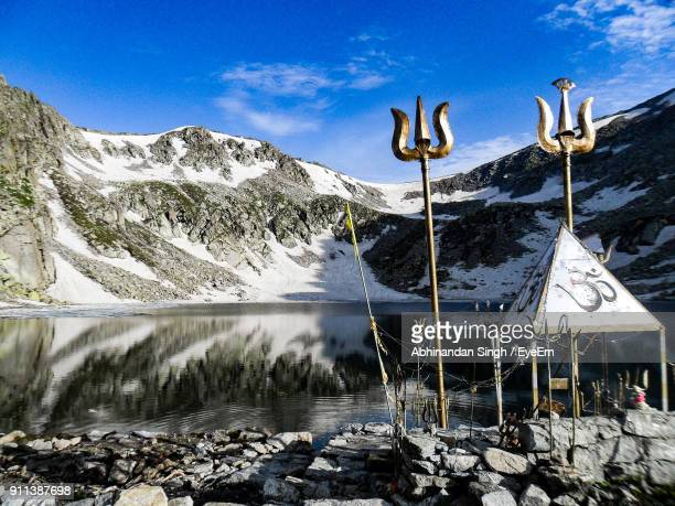 Scenic View Of Lake Against Mountains During Winter
